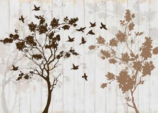 Абстактен Фототапет изображение на дърета и птици - 12066