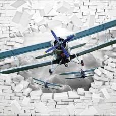 3D Фототапет самолет разбива стената - 10407