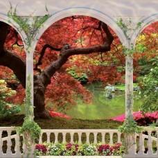 3D Фототапет балкон към красива вътрешна градина - 1075