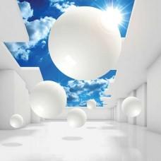 3D Фототапет за хол белоснежни форми и синьо небе - 11852