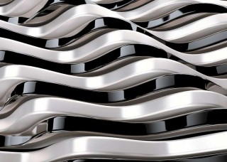 3D Фототапет с абстрактни черно-бели футуристични форми - 12127