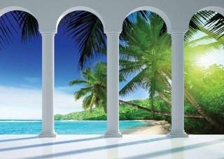 Фототапет тераса с изглед към пясъчен плаж - 2356
