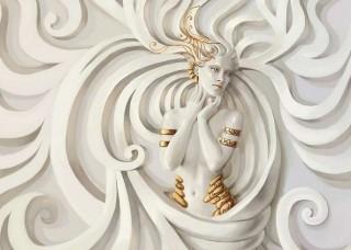 3D Фототапет статуя на богиня - 3043