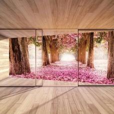 3D Фототапет изглед към пролетни цъфнали дръвчета - 3294