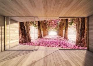 3D Фототапет изглед към пролетни цъфнали дръвчета - 3298