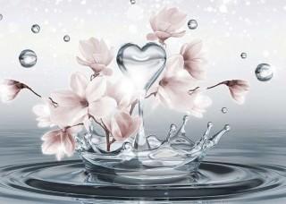 Фототапет капка вода под формата на сърце и цветя - 10163