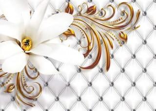 Фототапет бяло стилно цвете - 10306