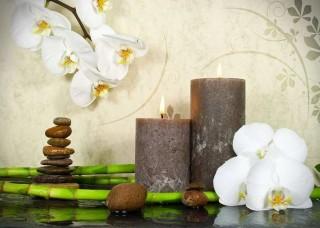 Фототапет орхидеи, камъни и свещи - 13018