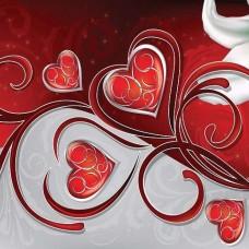 Фототапет червени сърца и бяла лилия - 302