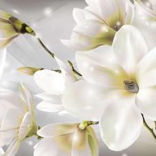 Флорален фототапет с бял акцент - 3508