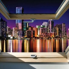 Фототапет гледка към града през прозореца - 10418