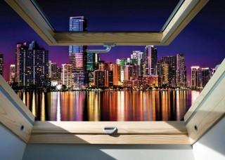 3D Фототапет прозорец гледка към нощен град - 10418