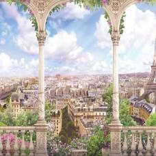 Фототапет тераса с изглед към Париж - 11417