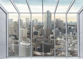 3D Фототапет прозорец гледка над града - 13021