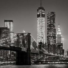 Черно-бял фототапет с градския облик през нощта - 13032