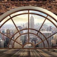 3D фототапет Ню Йорк прозорец с тухли - 2397