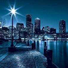 Син фототапет, отразяващ вълшебния облик на града през нощта - 283