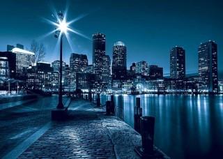 Фототапет града през нощта със син нюанс - 283