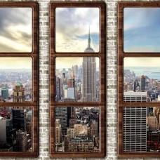 3D фототапет с прозорци и изглед към Ню Йорк Сити - 2832