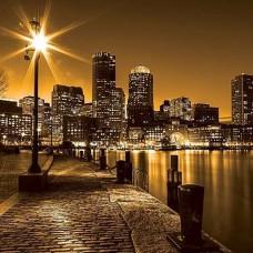 Златист фототапет, отразяващ вълшебния облик на града през нощта - 285