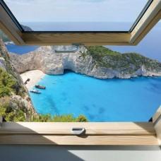 3D Фототапет изглед през прозореца към плаж в Гърция - 10393