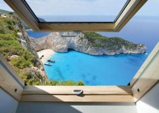 3D Фототапет изглед през прозореца към плаж с тропически нос - 10393