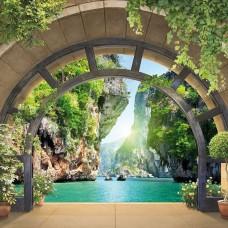 3D Фототапет арка, водеща към езерото - 11552