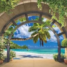 3D Фототапет арка, водеща към тропически плаж - 11554
