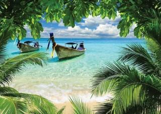 Фототапет лодки на тропическия плаж - 225