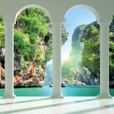 3D Фототапет езеро и скали - 2352