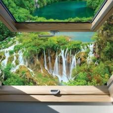 Фототапет изглед от прозореца с китни водопади - 10392
