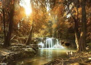 Фототапет спокойна гора с малък водопад - 10470
