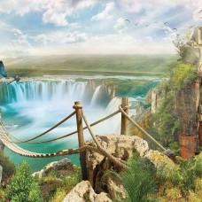 Фототапет рисунка на водопади и природа - 10515