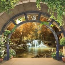 3D Фототапет арка, водеща към преказнокрасив водопад - 11553