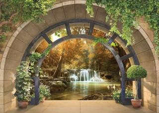 3D Фототапет арка, водеща към  водопад - 11553