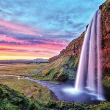 Фототапет водопад и облачно, червеникаво небе - 12984