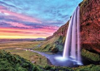 Фототапет водопад и червенo небе - 12984