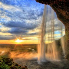 Фототапет разкошен водопад по време на изгрев - 13056