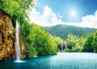 Фототапет езеро с водопад - 145