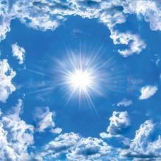 Фототапет синьо небе, бели облаци и слънцето - 2305