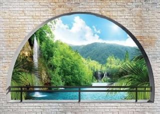 3D Фототапет тераса с изглед към горската река - 2837