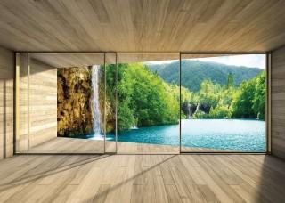 3D Фототапет тераса с изглед към езеро и водопад - 3314