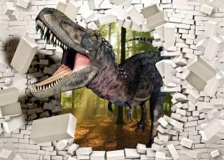 Фототапет динозавър пробива стената - 11462