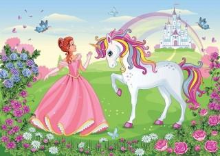 Фототапет принцесата и еднорогът - 13238