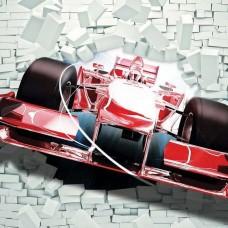 3D Фототапет автомобил, който разбива тухлената стена - 2774