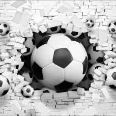 3D Фототапет футболни топки разбиват стената - 3383