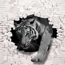 Фототапет тигър, пробиващ тухлена стена - 10400