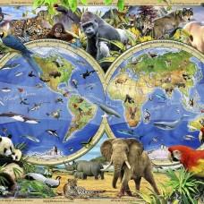 Фототапет карта на света с океански животни - 12842