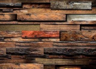 3D Фототапет с ефект на дървени греди - 11916