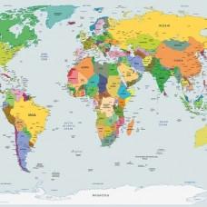 Фототапет с карта на света - политическа 2644